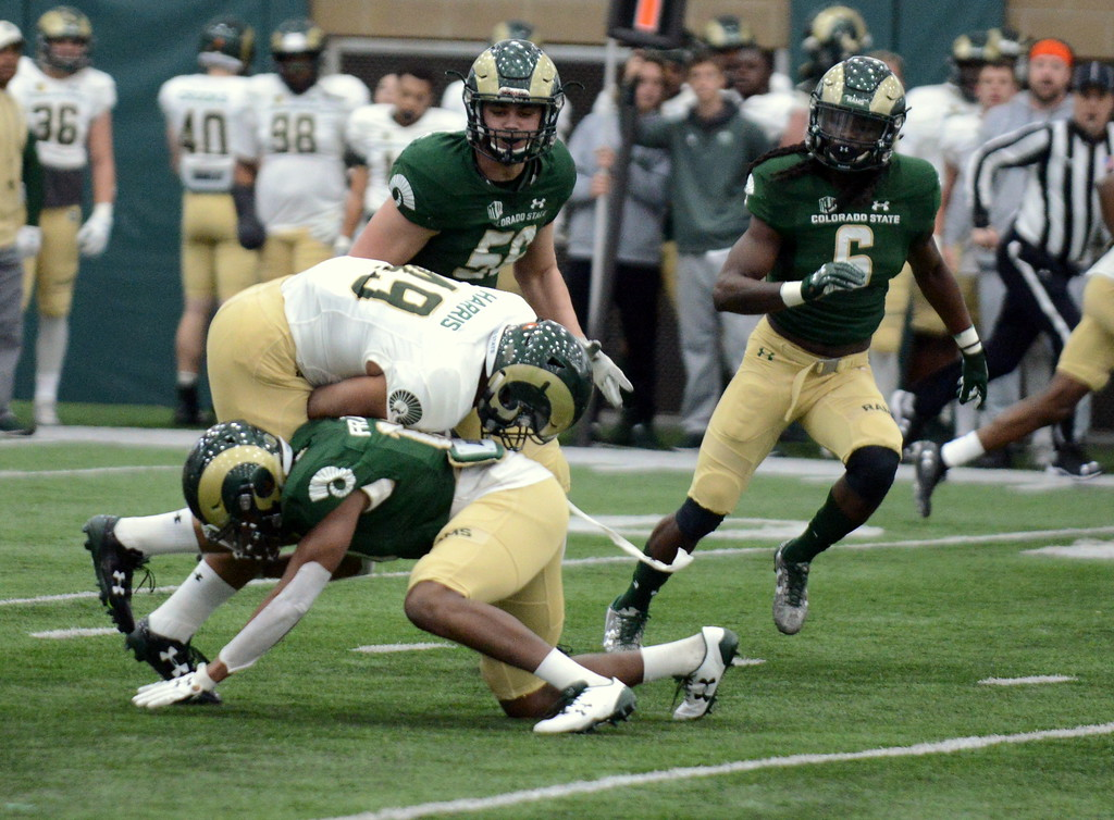 . Colorado State safety Tywain Francis goes low to take down back Drue Harris during Thursday\'s scimmage at the indoor practice facility. (Mike Brohard/Loveland Reporter-Herald)