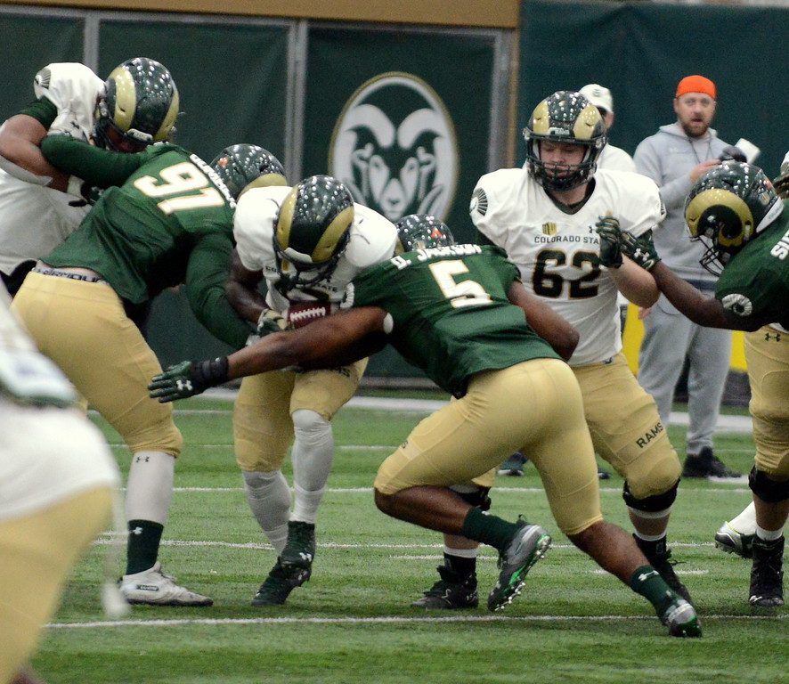 . Colorado State defeners Jan-Phillip Bombek (91) and Dequan Jackson close the gap to stuff David Aggrey in the hole during Thursday\'s scimmage at the indoor practice facility. (Mike Brohard/Loveland Reporter-Herald)