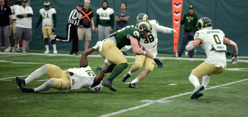 . Colorado State tight end Trey McBrides tries to pull away from the grip of linebacker Cam\'Ron Carter as Adonis Rufran (38) and Quinn Brinnon close in during Thursday\'s scimmage at the indoor practice facility. (Mike Brohard/Loveland Reporter-Herald)