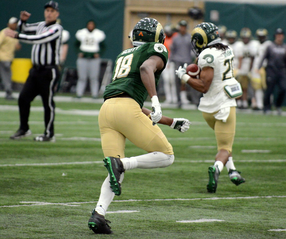 . Colorado State receiver A\'Jon Vivens reaches back to bring in a pass as Braylin Scott closes the gap during Thursday\'s scimmage at the indoor practice facility. (Mike Brohard/Loveland Reporter-Herald)