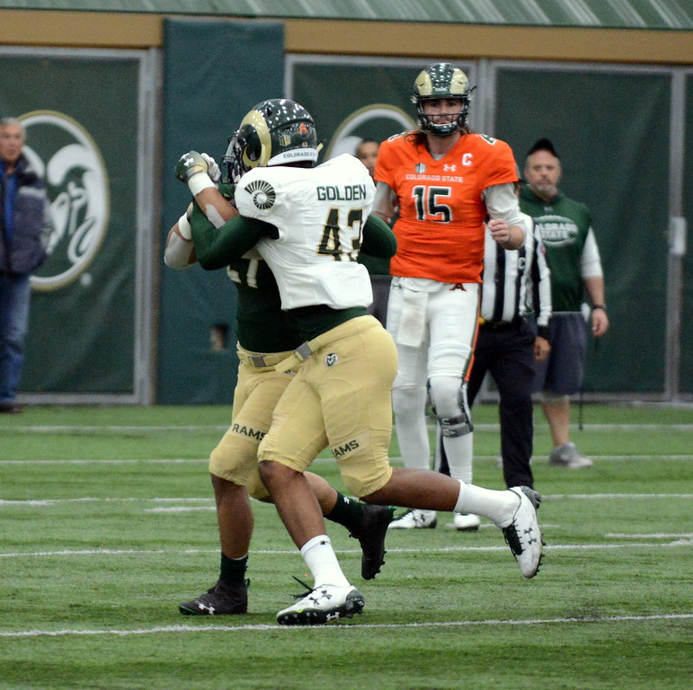 . Colorado State linebacker Troy Golden stuffs a short-yardage run by Jaylen Thomas during Thursday\'s scimmage at the indoor practice facility. (Mike Brohard/Loveland Reporter-Herald)