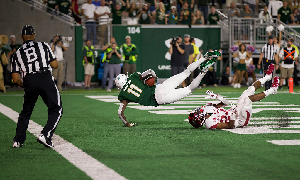 . Colorado State wide receiver Preston Williams (11) comes down with the tying touchdown catch against Arkansas Saturday evening Sept., 8, 2018 at Canvas Stadium in Fort Collins. The Rams came from behind to win, 34-27. (Michael Brian/For the Reporter-Herald)