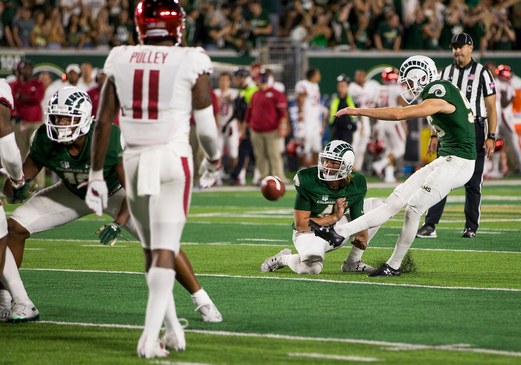 . Colorado State kicker Wyatt Bryan (96) kicks the final extra point Saturday evening Sept., 8, 2018 at Canvas Stadium in Fort Collins. Bryan kicked four field goals in the victory over Arkansas and became the Ram\'s career scoring leader with 300 points. (Michael Brian/For the Reporter-Herald)