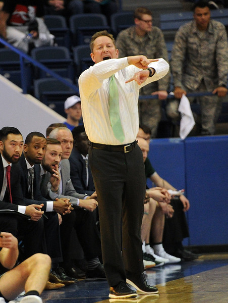 Coach Niko Medved calls out a play against Air Force on Saturday, Feb. 2, 2019 at Clune Arena. (Colin Barnard/Loveland Reporter-Herald)