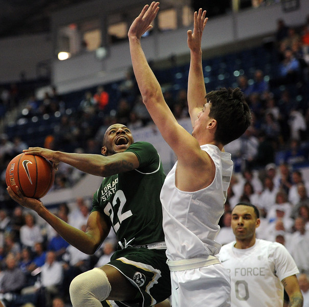 J.D. Paige gets into the paint against Air Force as he goes to the rim on Saturday, Feb. 2, 2019 at Clune Arena. (Colin Barnard/Loveland Reporter-Herald)