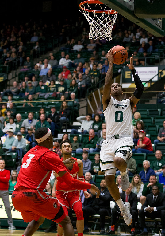 . Colorado State guard Hyron Edwards (0) gets a clear path to the basket for a layup against New Mexico Saturday afternoon Jan., 12, 2018 at Moby Arena in Fort Collins. The Rams beat the Lobos 91-76. (Michael Brian/For the Reporter-Herald)