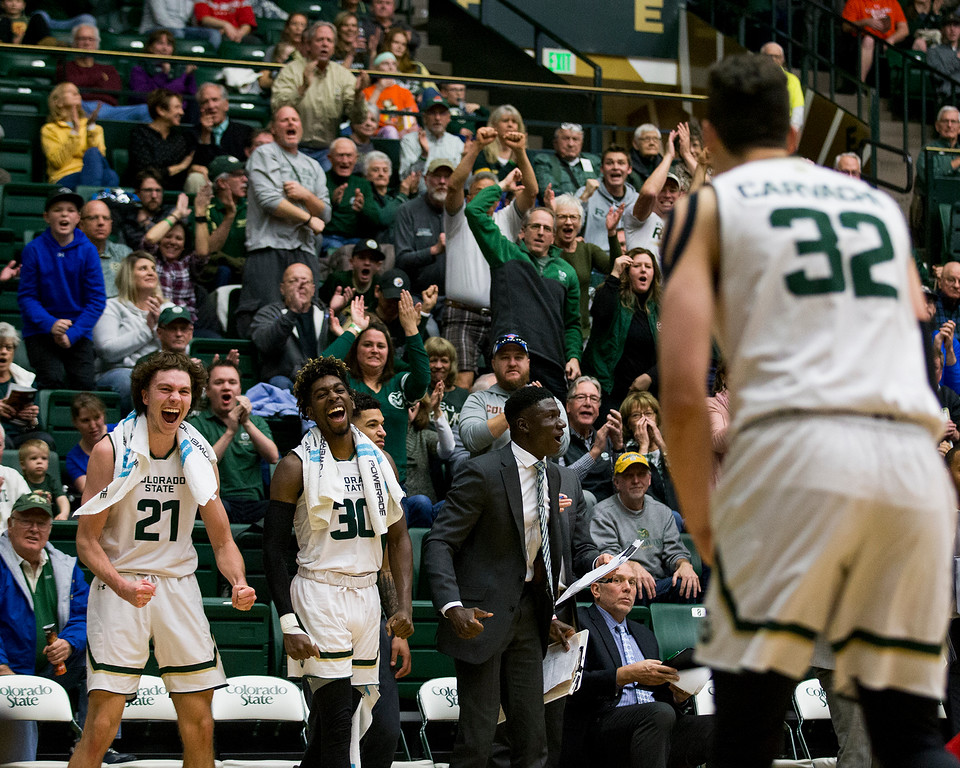 . Colorado State players and fans react to a power move to the basket by Nicolas Carvacho (32) against New Mexico Saturday afternoon Jan., 12, 2018 at Moby Arena in Fort Collins. The Rams beat the Lobos 91-76. (Michael Brian/For the Reporter-Herald)