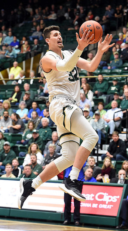 . Colorado State\'s Nico Carvacho goes up for a shot during their game against Air Force Tuesday, Jan. 8, 2019, at Moby Arena in Fort Collins.  (Photo by Jenny Sparks/Loveland Reporter-Herald)