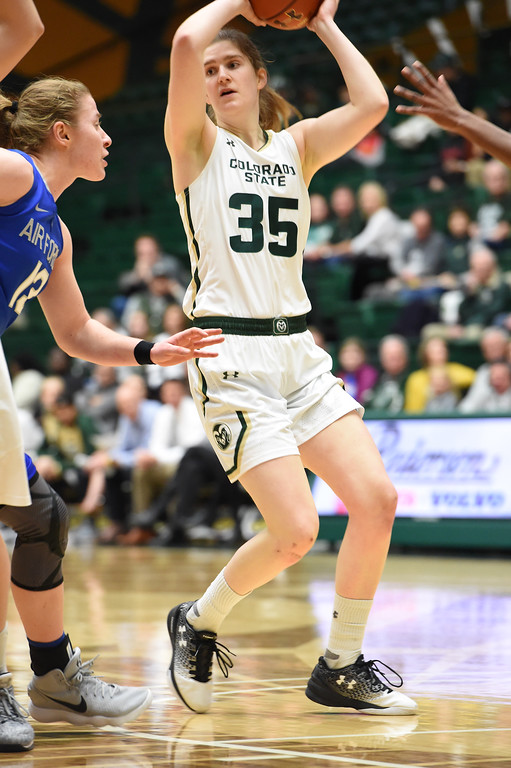 . Colorado State\'s (35) Lore Devos looks to pass before Air Force\'s (13) Emily Conroe can steal the ball during their game on Wednesday, Feb. 7, 2018 at Moby Arena in Fort Collins. Photo by Thieng Mai/Loveland Reporter-Herald.