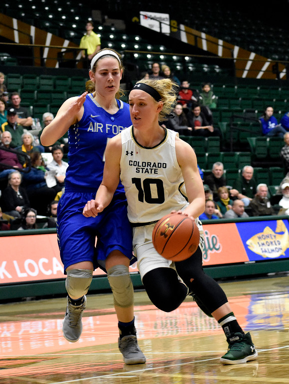 . Colorado State\'s (10) Hannah Tvrdy dribbles the ball past Air Force\'s (11) Cortney Porter during their game on Wednesday, Feb. 7, 2018 at Moby Arena in Fort Collins. Photo by Thieng Mai/Loveland Reporter-Herald.
