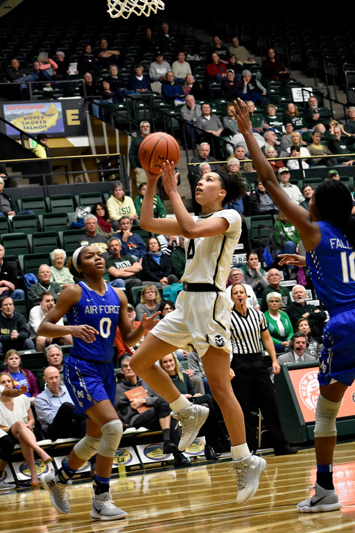 . Colorado State\'s (4) Jordyn Edwards goes for an open shot between Air Force players\' defense during their game on Wednesday, Feb. 7, 2018 at Moby Arena in Fort Collins. Photo by Thieng Mai/Loveland Reporter-Herald.