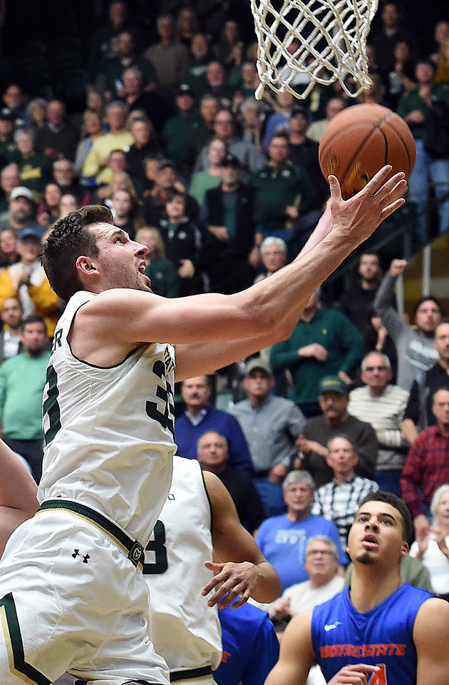 Colorado State's #33 Braden Koelliker goes up for a shot during their game against Boise State Tuesday, Jan. 31, 2017, at Moby Arena in Fort Collins. (Photo by Jenny Sparks/Loveland Reporter-Herald)