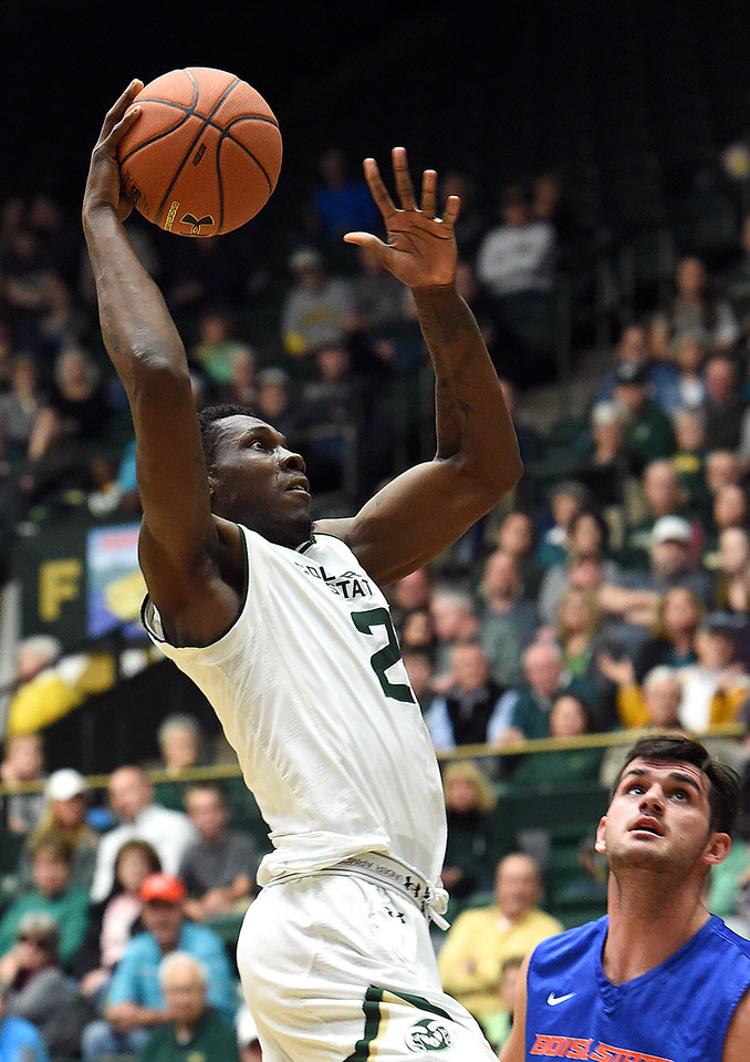 Colorado State's #2 Emmanuel Omogbo makes his way up for a dunk during their game against Boise State on Tuesday, Jan. 31, 2017, at Moby Arena in Fort Collins. (Photo by Jenny Sparks/Loveland Reporter-Herald)