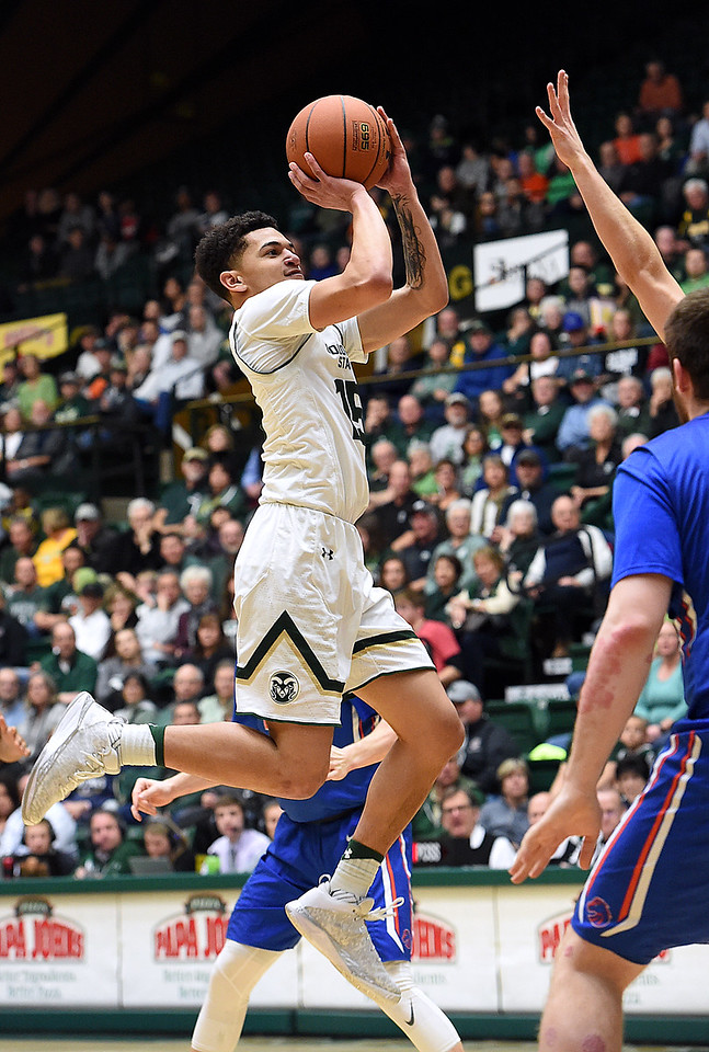 Colorado State's #Anthony Bonner goes up for a shot during their game against Boise State on Tuesday, Jan. 31, 2017, at Moby Arena in Fort Collins. (Photo by Jenny Sparks/Loveland Reporter-Herald)