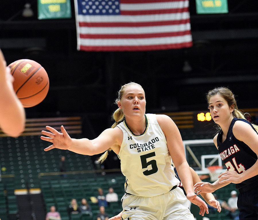 Colorado State University's (5) Sofie Tryggedsson passes the ball during their game against Gonzaga Monday, Nov. 13, 2017, at Moby Arena in Fort Collins.  (Photo by Jenny Sparks/Loveland Reporter-Herald)