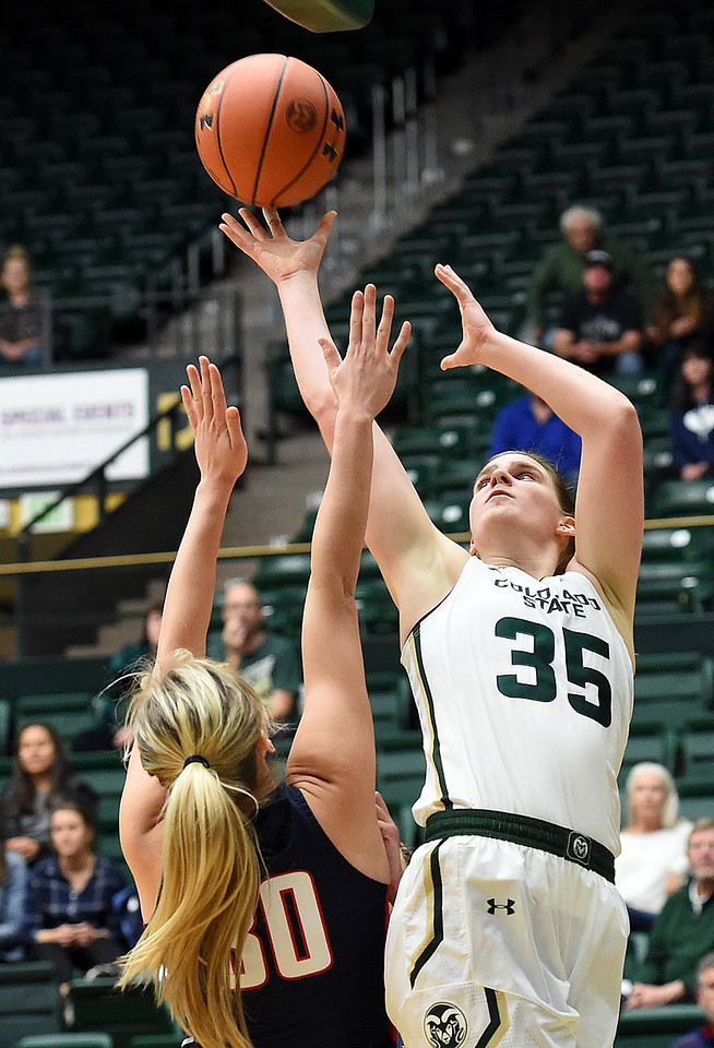 Colorado State University's (35) Lore Devos shoots past Gonzaga's (30) Chandler Smith during their game Monday, Nov. 13, 2017, at Moby Arena in Fort Collins.  (Photo by Jenny Sparks/Loveland Reporter-Herald)