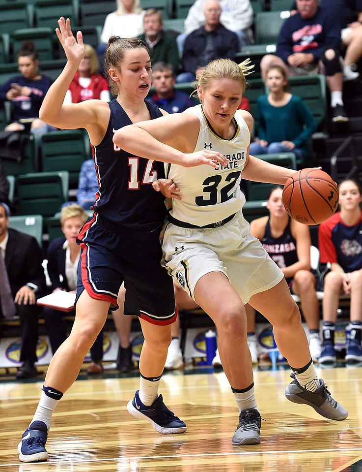 Colorado State University's (32) Annie Brady moves past Gonzaga's (14) Emma Stach during their game Monday, Nov. 13, 2017, at Moby Arena in Fort Collins.  (Photo by Jenny Sparks/Loveland Reporter-Herald)