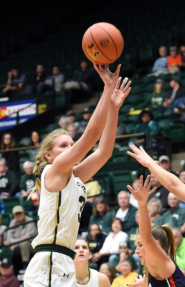 Colorado State University's (32) Annie Brady shoots a three-pointer during their game against Gonzaga Monday, Nov. 13, 2017, at Moby Arena in Fort Collins.  (Photo by Jenny Sparks/Loveland Reporter-Herald)