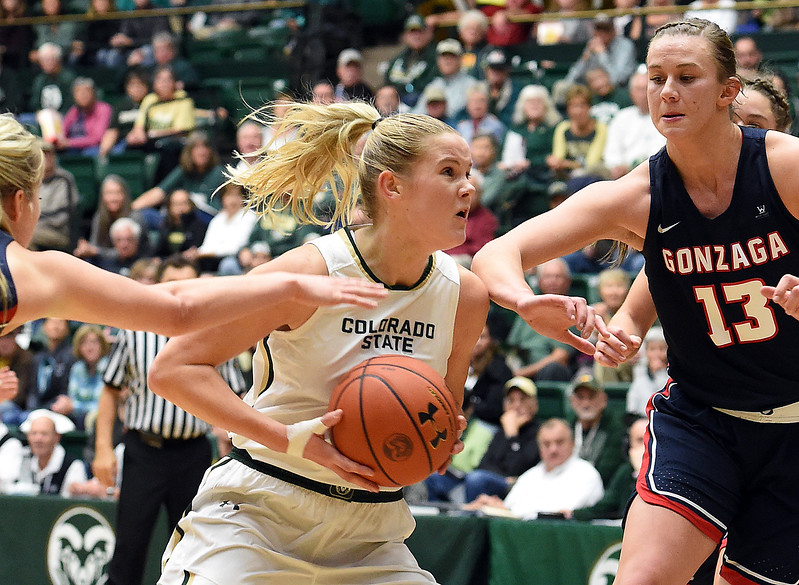 Colorado State University's (2) Stine Austgulen moves past Gonzaga's (13) Jill Barta during their game Monday, Nov. 13, 2017, at Moby Arena in Fort Collins.  (Photo by Jenny Sparks/Loveland Reporter-Herald)