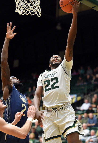 Colorado State University's J.D. Paige goes up for a shot during their game against Montana Wednesday, Nov. 14, 2018, at Moby Arena in Fort Collins.  (Photo by Jenny Sparks/Loveland Reporter-Herald)