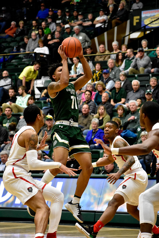 . Colorado State\'s (11) Prentiss Nixon takes the chance to score before New Mexico players can stop him during their game on Wednesday, Feb. 28, 2018 at Moby Arena in Fort Collins. Photo by Thieng Mai/Loveland Reporter-Herald.