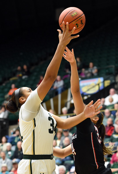 Colorado State's (34) Liah Davis shoots past San Diego State's (34) Baylee Vanderdoes during their game on Wednesday, Jan. 24, 2018, at Moby Arena in Fort Collins. (Photo by Jenny Sparks/Loveland Reporter-Herald)