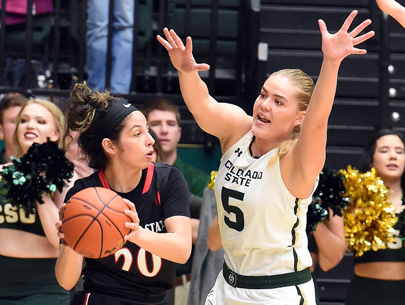 Colorado State's (5) Sofie Tryggedsson tries to block San Diego State's (20) Geena Gomez during their game on Wednesday, Jan. 24, 2018, at Moby Arena in Fort Collins. (Photo by Jenny Sparks/Loveland Reporter-Herald)