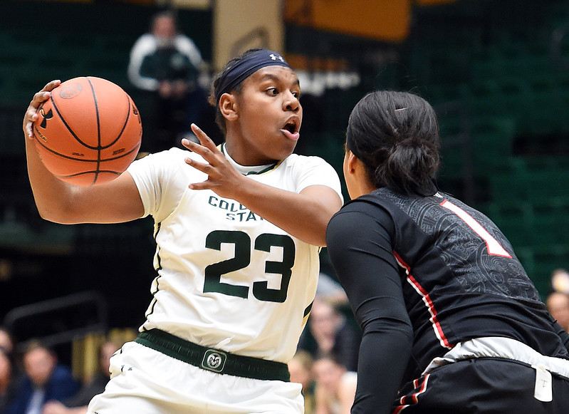 Colorado State's (23) Grace Colaivalu looks to past as San Diego State's (1) Khalia Lark tries to block during their game on Wednesday, Jan. 24, 2018, at Moby Arena in Fort Collins. (Photo by Jenny Sparks/Loveland Reporter-Herald)