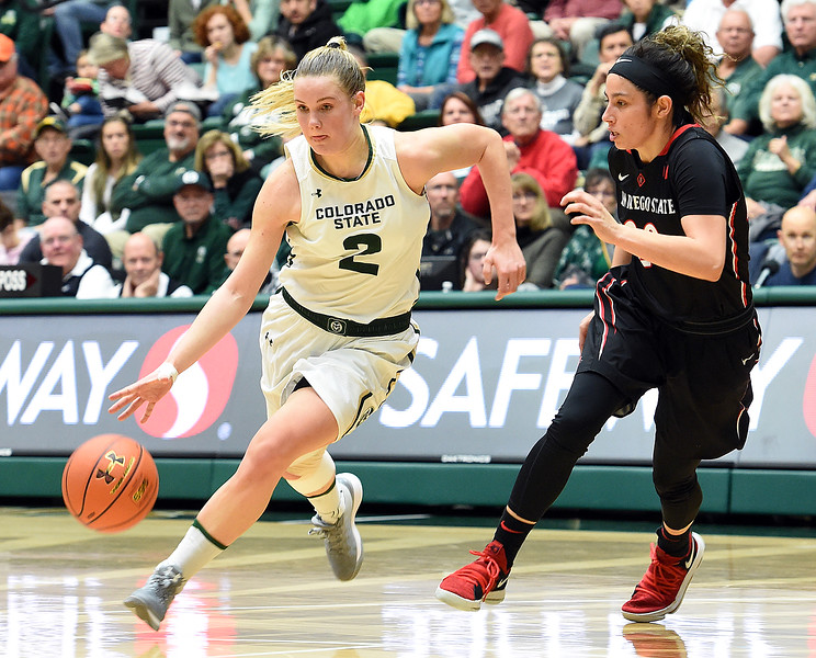 Colorado State's (2) Stine Austgulen drives the ball toward the net past San Diego State's (20) Geena Gomez during their game on Wednesday, Jan. 24, 2018, at Moby Arena in Fort Collins. (Photo by Jenny Sparks/Loveland Reporter-Herald)