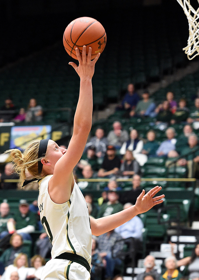 Colorado State's (10) Hannah Tvrdy goes up for a shot during their game against San Diego State on Wednesday, Jan. 24, 2018, at Moby Arena in Fort Collins. (Photo by Jenny Sparks/Loveland Reporter-Herald)