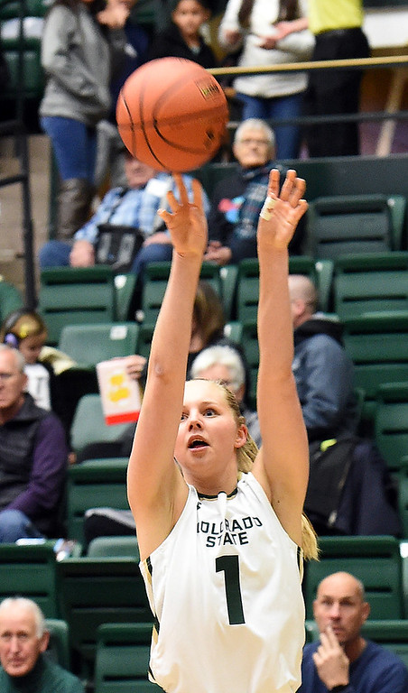. Colorado State\'s (1) Nathalie Linden shoot a three-pointer during their game against Utah State on Wednesday, Jan 10, 2018, at Moby Arena in Fort Collins.  (Photo by Jenny Sparks/Loveland Reporter-Herald)
