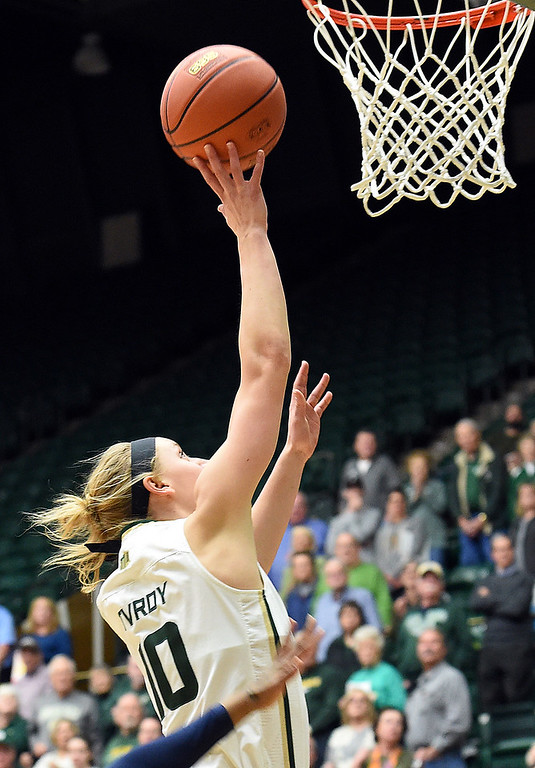 . Colorado State\'s (10) Hannah Tvrdy goes up for a shot during their game against Utah State on Wednesday, Jan 10, 2018, at Moby Arena in Fort Collins.  (Photo by Jenny Sparks/Loveland Reporter-Herald)