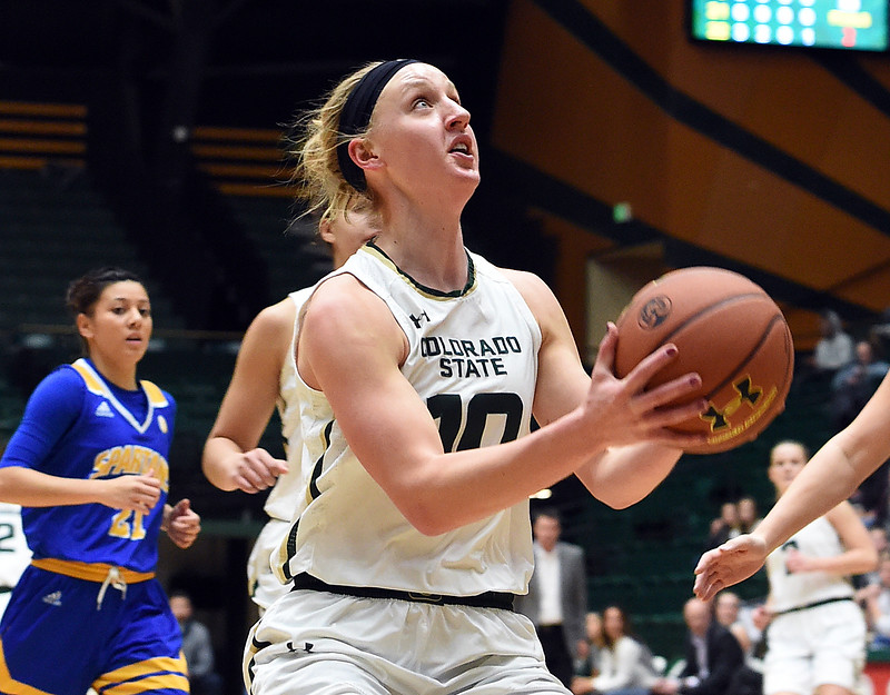 Colorado State University's #10 Hannah Tvrdy looks toward the basket during their game against San Jose State Wednesday, Jan. 4, 2017, at Moby Arena in Fort Collins. (Photo by Jenny Sparks/Loveland Reporter-Herald)