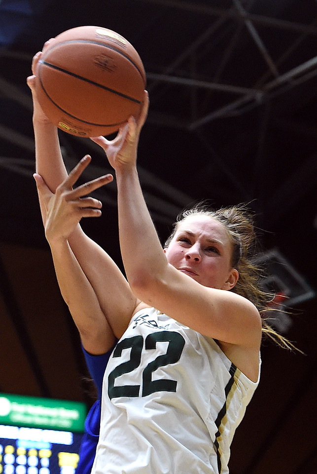 Colorado State University's #22 Elin Gustavsson goes up for a rebound during their game against San Jose State Wednesday, Jan. 4, 2017, at Moby Arena in Fort Collins. (Photo by Jenny Sparks/Loveland Reporter-Herald)
