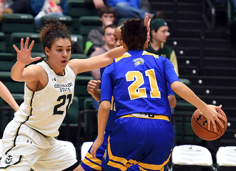 Colorado State University's #21 Myanne Hamm stays on San Jose State's #21 Dezz Ramos during their game Wednesday, Jan. 4, 2017, at Moby Arena in Fort Collins. (Photo by Jenny Sparks/Loveland Reporter-Herald)