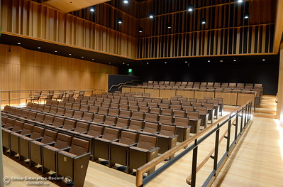 The Zingg Recital Hall includes acoustically adjustable curtains enabling users to customize sound seen here during a tour of the new Humanities and Fine Arts Building on CSUC campus Thursday Aug. 4, 2016. (Bill Husa -- Enterprise-Record)