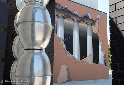 New artwork is seen near the John Pugh Mural Acadame near the new Humanities and Fine Arts Building on CSUC campus Thursday Aug. 4, 2016. (Bill Husa -- Enterprise-Record)