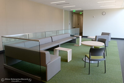 Several lounge areas, some with movable furniture await students during a tour of the new Humanities and Fine Arts Building on CSUC campus Thursday Aug. 4, 2016. (Bill Husa -- Enterprise-Record)