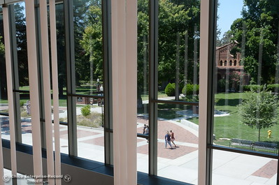 High ceilings and outstanding views of the campus are some of the features of the new building seen during a tour of the new Humanities and Fine Arts Building on CSUC campus Thursday Aug. 4, 2016. (Bill Husa -- Enterprise-Record)