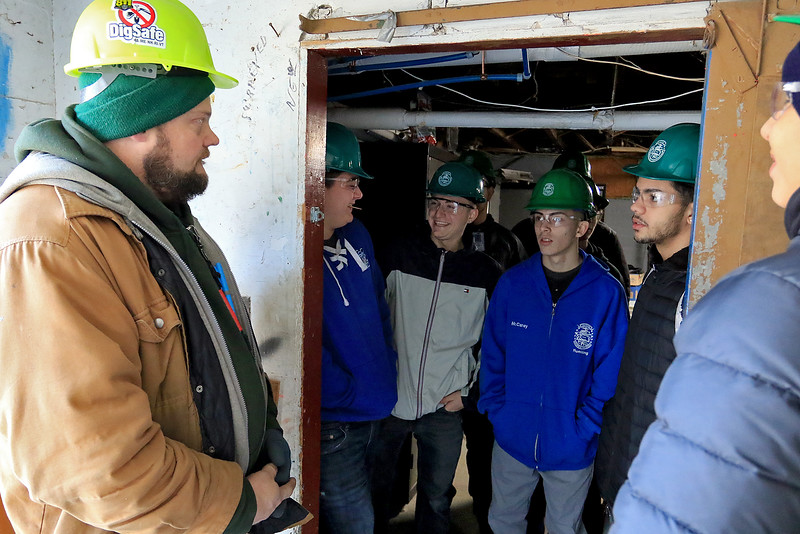 "Leominster Recreation Departments's building at Barrett Park is getting a new addition and a make over on the inside. The work started just before the new year and is being done by the instructors and students from Leomisnter""s Center For Technical Education Innovation (CTEi). Plumbing instructor Gregory Stephanos talks to the students about all the stuff they will need to being to help get the project done on Friday morning, January 4, 2019. SENTINEL & ENTERPRISE/JOHN LOVE"