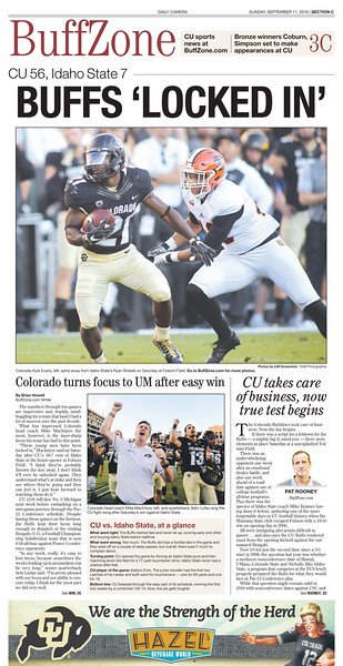 CU Football Buffzone Front Pages 2016