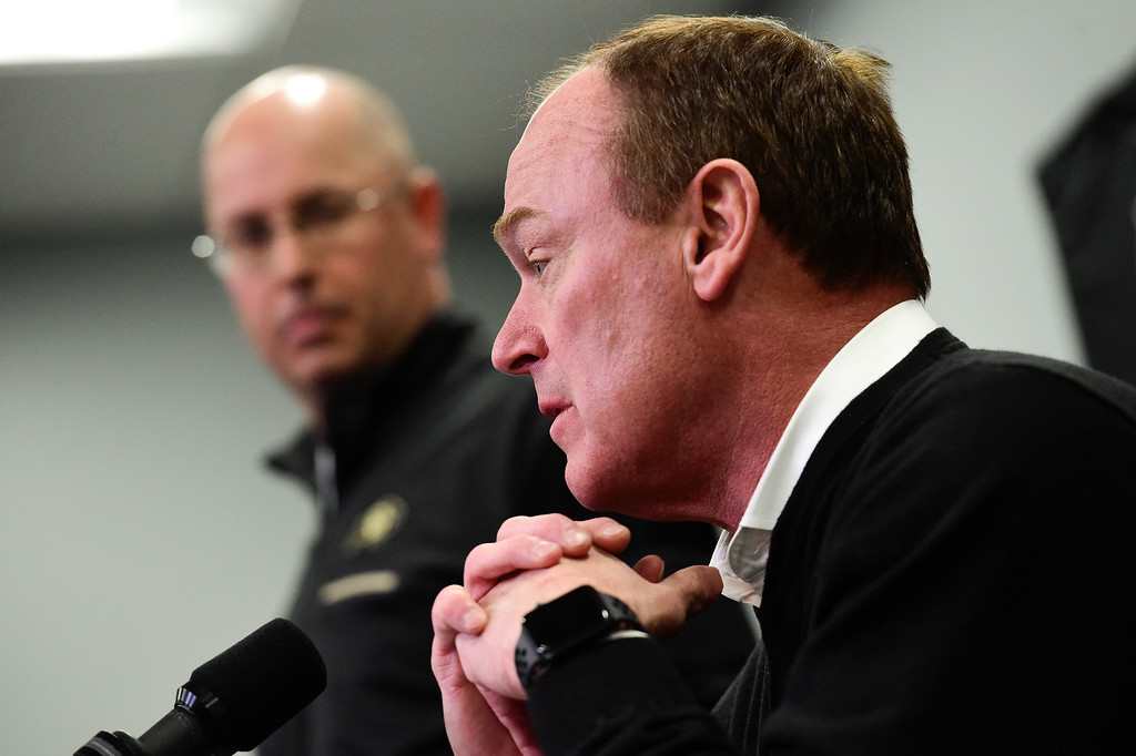 . BOULDER, CO - NOVEMBER 18:University of Colorado  athletic director Rick George speaks during a press conference at the Champions Center in Boulder on Nov. 17, 2018. Head coach Mike MacIntyre was dismissed on Sunday (Photo by Matthew Jonas/Staff Photographer)