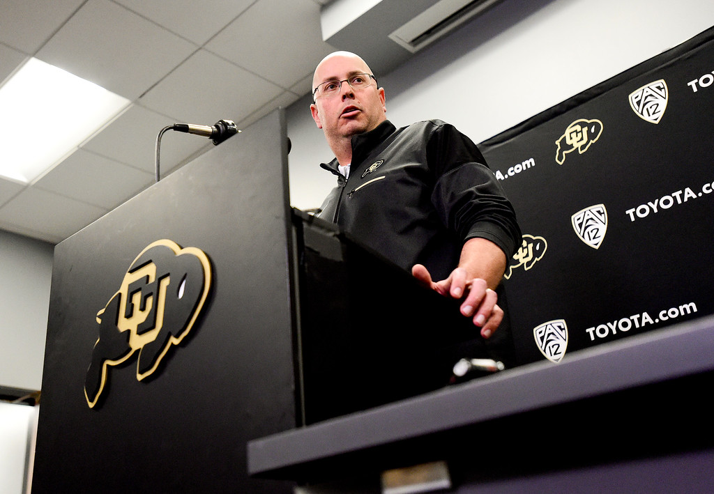 . BOULDER, CO - NOVEMBER 18:University of Colorado interim head football coach Kurt Roper speaks during a press conference at the Champions Center in Boulder on Nov. 17, 2018. Head coach Mike MacIntyre was dismissed on Sunday.  (Photo by Matthew Jonas/Staff Photographer)