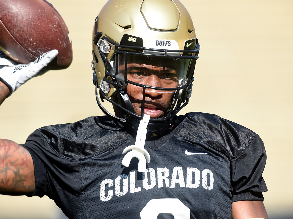 . Boulder, CO - AUGUST 11: Juwann Winfree during the University of Colorado football scrimmage on August 11, 2018.(Photo by Cliff Grassmick/Staff Photographer)