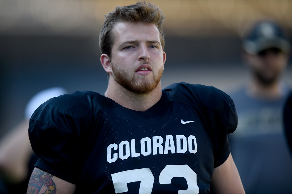 . Boulder, CO - AUGUST 11: Jacob Moretti during the University of Colorado football scrimmage on August 11, 2018.(Photo by Cliff Grassmick/Staff Photographer)