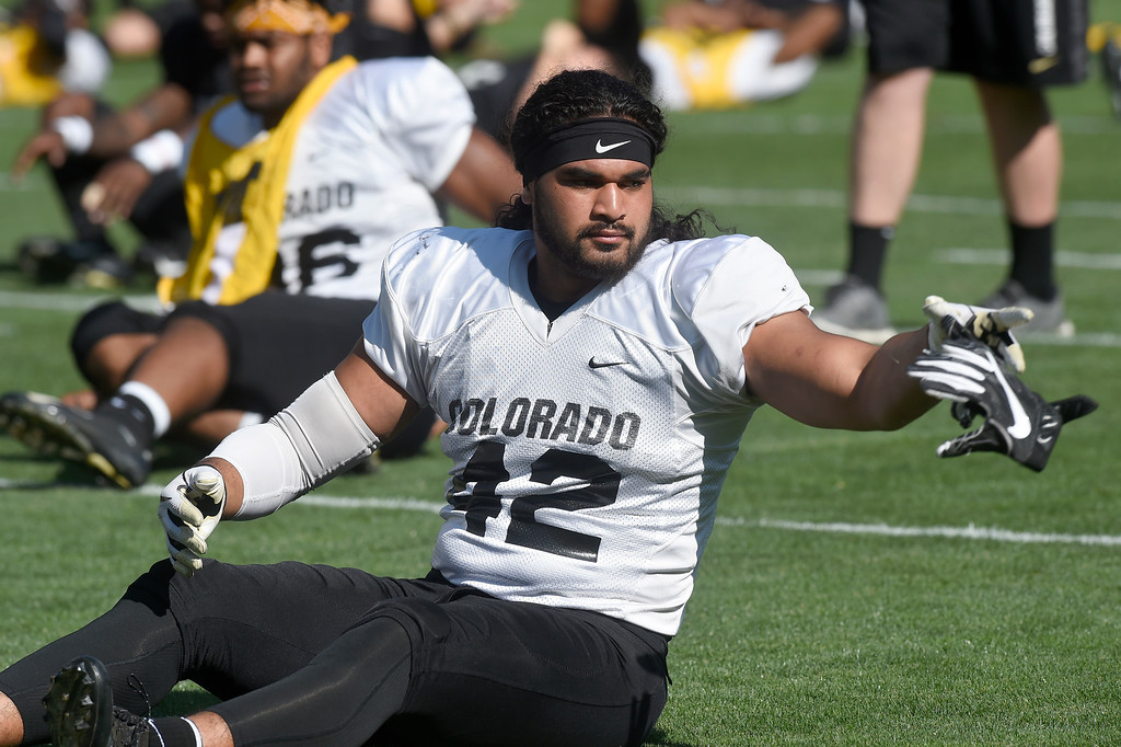. Boulder, CO - AUGUST 11: Nu\'umotu Falo during the University of Colorado football scrimmage on August 11, 2018.(Photo by Cliff Grassmick/Staff Photographer)