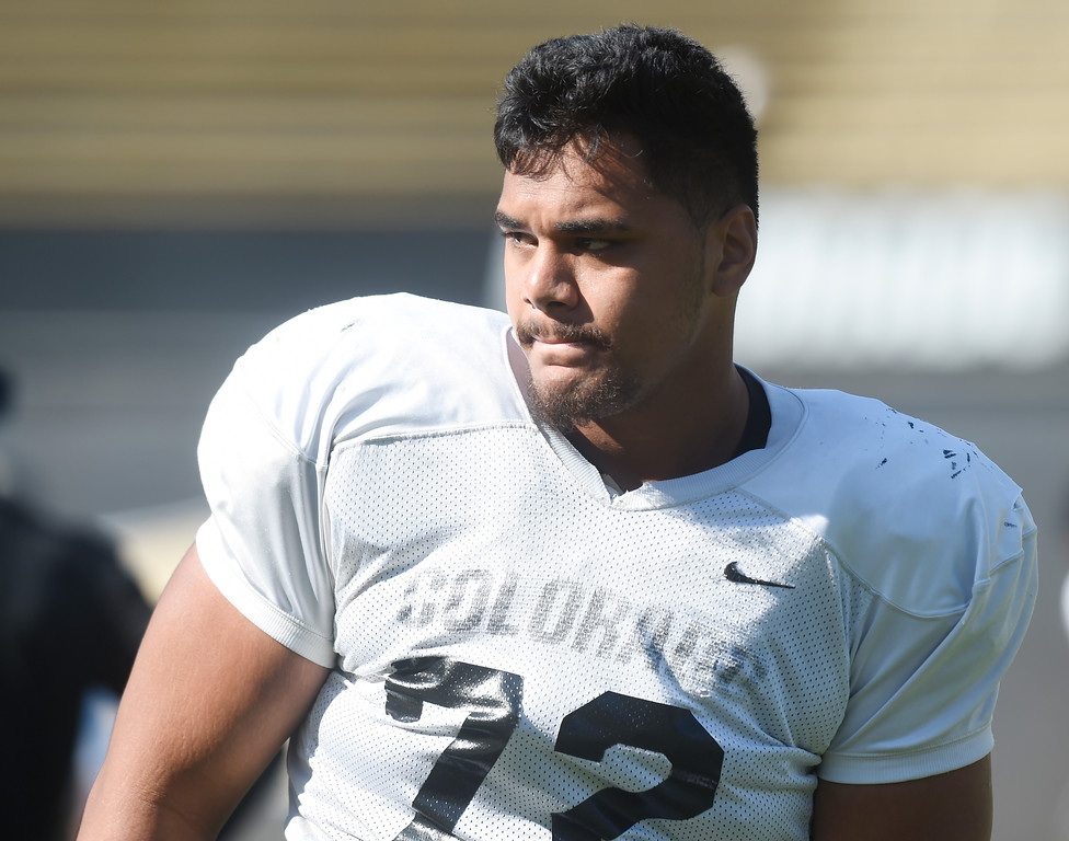 . Boulder, CO - AUGUST 11: Lyle Tuiloma during the University of Colorado football scrimmage on August 11, 2018.(Photo by Cliff Grassmick/Staff Photographer)