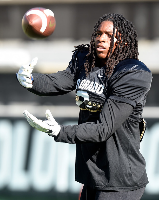 . Boulder, CO - AUGUST 11: Laviska Shenault during the University of Colorado football scrimmage on August 11, 2018.(Photo by Cliff Grassmick/Staff Photographer)