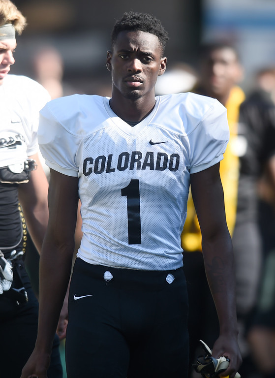 . Boulder, CO - AUGUST 11: Delrick Abrams during the University of Colorado football scrimmage on August 11, 2018.(Photo by Cliff Grassmick/Staff Photographer)