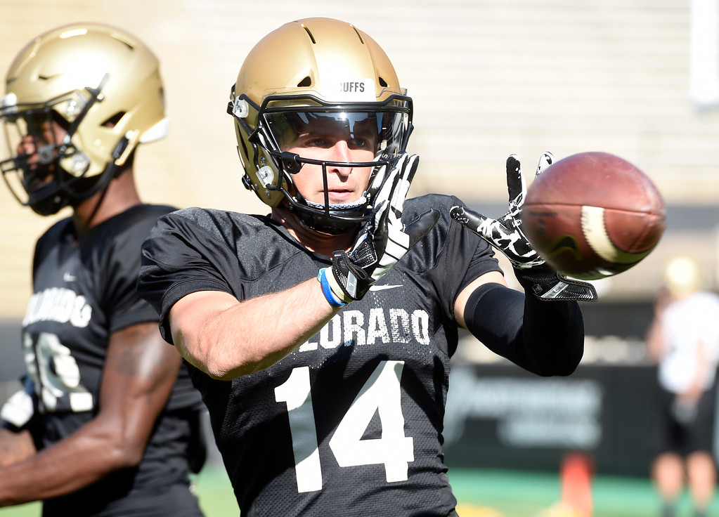 . Boulder, CO - AUGUST 11: Jay MacIntyre during the University of Colorado football scrimmage on August 11, 2018.(Photo by Cliff Grassmick/Staff Photographer)